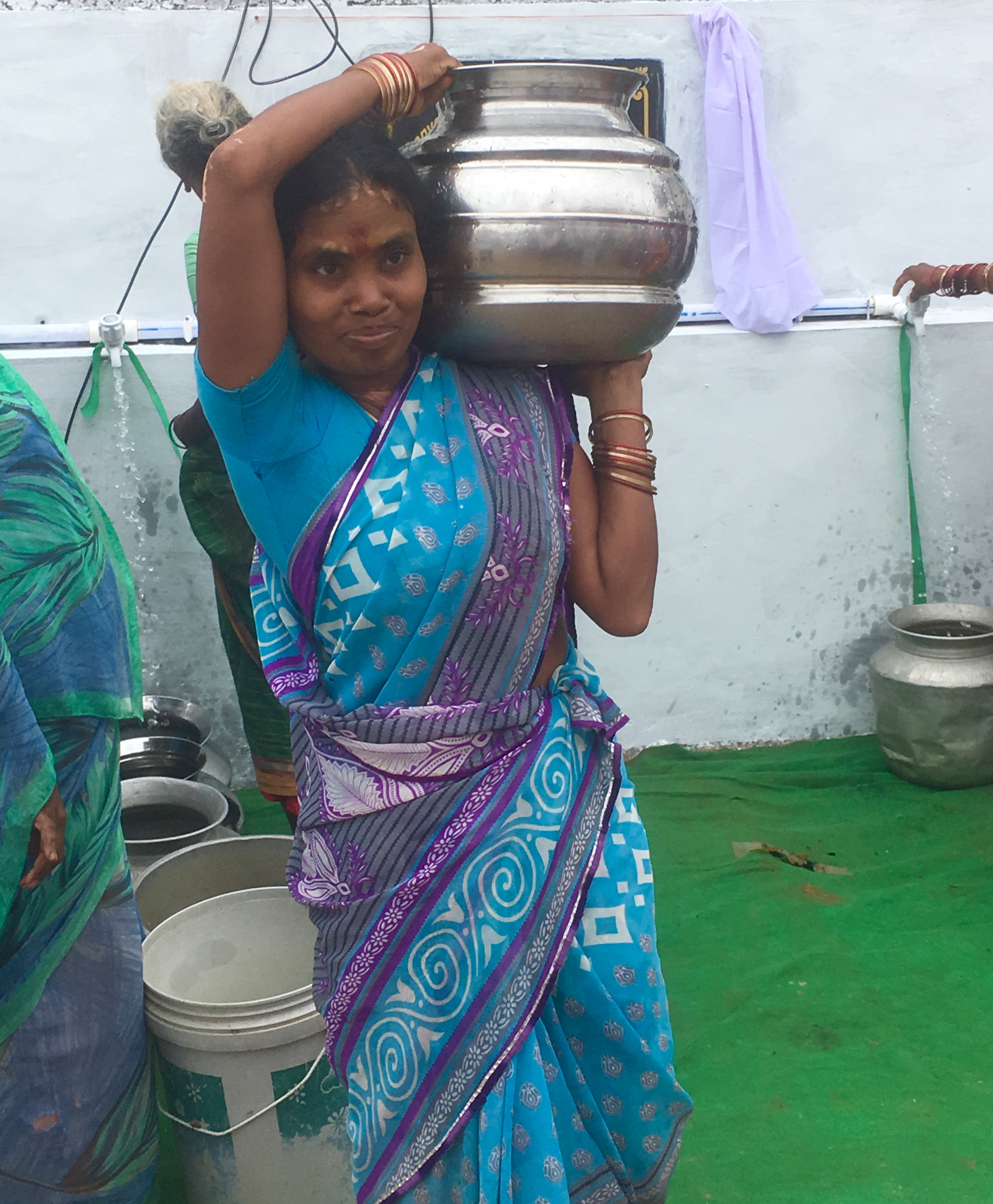 woman with water container